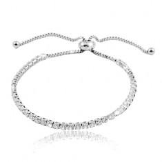 316L steel bracelet, clear circular zircon line