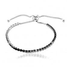 Steel bracelet in silver colour, black circular zircon line
