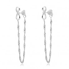 925 silver earrings, INFINITY symbol, chain connected with a stud