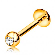 585 gold diamond lip or chin piercing - ball with a brilliant, 8 mm