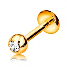 Lip or chin brilliand piercing, 14K gold - ball with a diamond, 6 mm