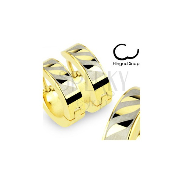 Hinged snap earrings made of 316L steel in gold colour - three diagonal waves in gray oblong