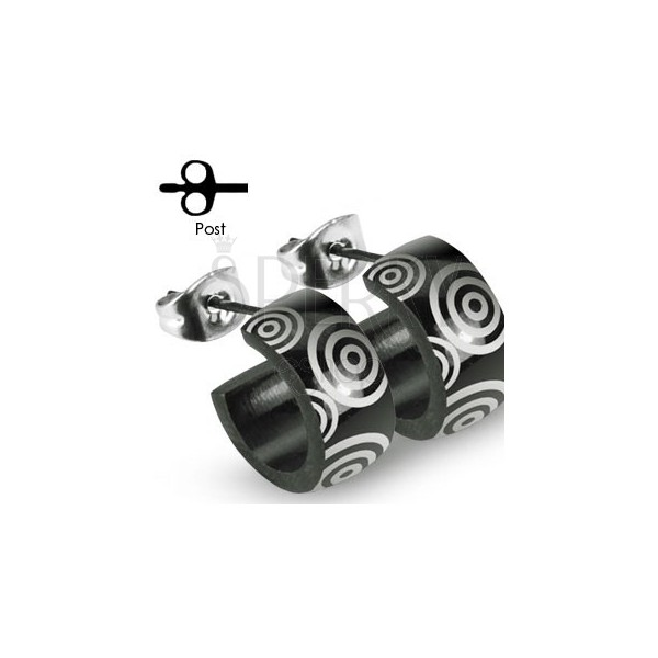 Black stainless steel earrings with silver circles