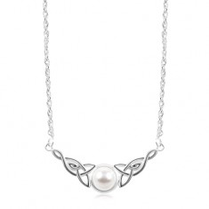 925 silver necklace, white half-ball, Celtic knots on the sides