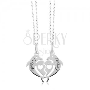 925 silver necklace - halved heart of two dolphines, Friends Forever