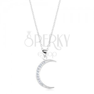 925 silver necklace, shiny chain, thin moon crescent inlaid with zircons