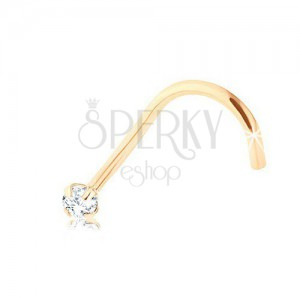 Curved brilliant nose piercing, 9K yellow gold, clear diamond, 1,4 mm