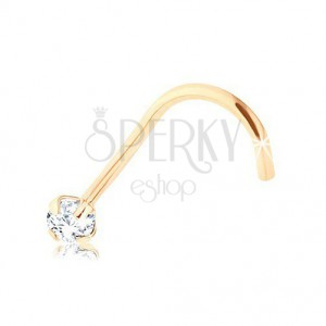 9K gold diamond nose piercing, yellow gold, clear brilliant, 2 mm