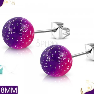 Steel earrings, pink-purple acrylic balls with glitters, stud earrings