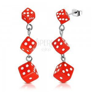 Stainless steel earrings, orange dice with white dots