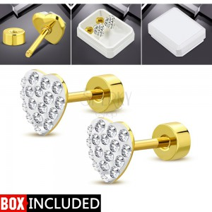 Golden stud earrings, 316l steel, heart with clear zircons