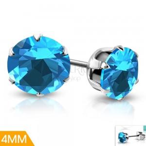 Steel stud earrings, blue zircon with a decorative mount, 4 mm