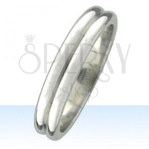 Steel ring with two rounded strips