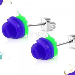 Steel stud earrings, dark-purple rose with green leaves