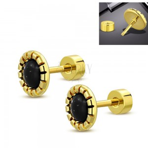 Steel earrings in gold colour, a flower with a black-white middle, screw-back fastening