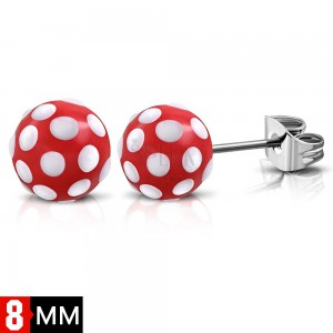 Stainless steel earrings, red balls with white dots