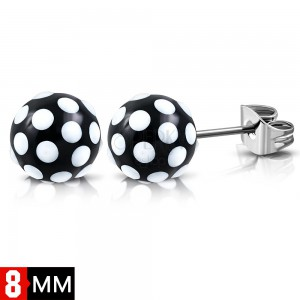 316L steel earrings, black-white balls with dots