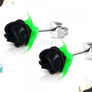 Steel earrings, black silicone rose with green leaves, studs