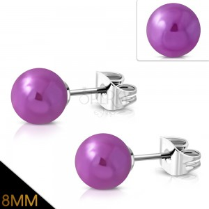 Stainless steel earrings, purple balls with metallic reflections