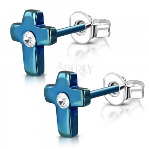 Steel earrings, anodized blue cross with a clear zircon