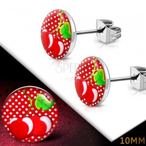Stud steel earrings - circles with cherries on a polka-dot background