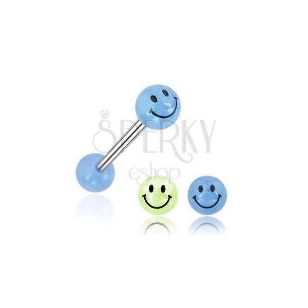 Smiley ball tongue ring