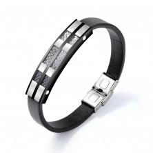 Black leather bracelet, shiny plate of black and silver steel