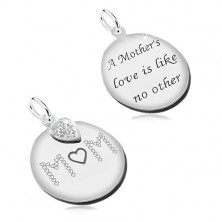 925 silver pendant, flat double-sided circle with black inscriptions, heart