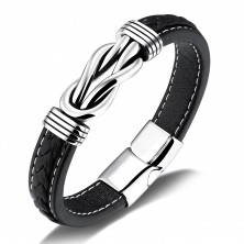 Black synthetic leather bracelet, patinated Celtic knot in silver colour