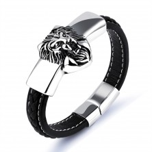 Black synthetic leather bracelet, silver plate with a lion