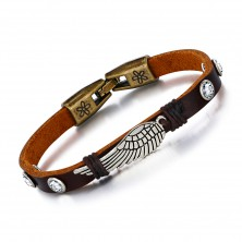 Brown synthetic leather bracelet, patinated angel wing, zircons