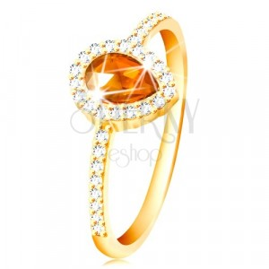 Ring made of yellow 14K gold, drop in orange colour with clear zircon rim