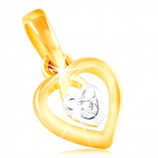 14K gold pendant - heart contour and small heart with clear zircon in the middle