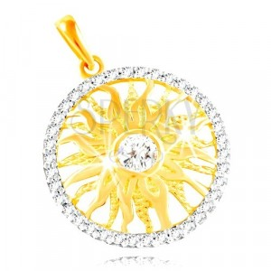 585 gold pendant - sparkling sun in a band of clear zircons