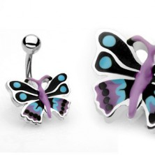 Navel ring - colorful butterfly
