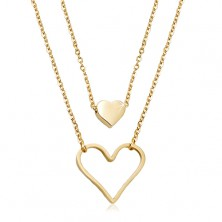 Steel necklace in gold colour, small full heart, big heart contour, two chains