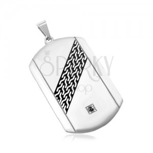 Steel pendant, matte plate in silver colour, black diagonal stripe, black zircon