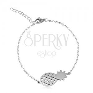 Steel bracelet in silver colour, oval rings, shiny pineapple