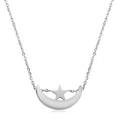 Silver coloured necklace, stainless steel, shiny moon crescent and star