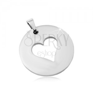 Steel pendant in silver shade, matte circle with a heart cut