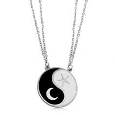 Steel necklace, two chains, black-white Jin Jang symbol, a moon and a star