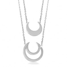 316L steel necklace, smaller and bigger moon crescent, two chains