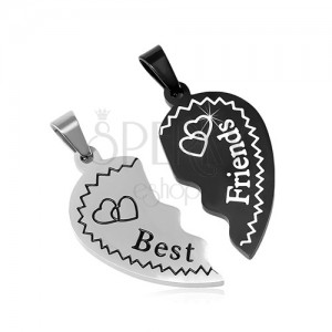Steel pendants Best Friends - halved heart with hearts, two-coloured