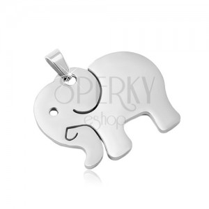 Stainless steel pendant in silver shade, matte elephant with cuts
