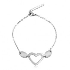 Steel bracelet in silver colour, oval rings, two ovals and a heart contour
