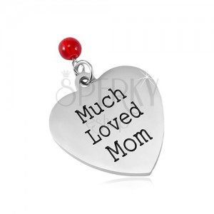 Stainless steel pendant, matte heart with an inscription and a red ball