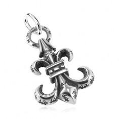 316L steel pendant, big patinated symbol Fleur de Lis