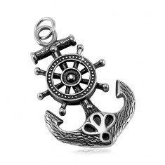 Patinated steel pendant, massive anchor and ship wheel