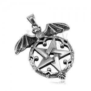 Patinated pendant, 316L steel, bat and pentagram in decorative circle