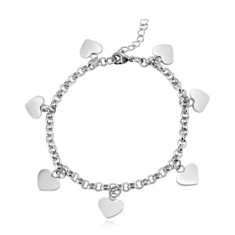 Stainless steel bracelet, shiny flat hearts, silver colour